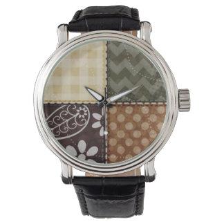 Beige, mörkbrunt och oliv grönt täckelook armbandsur