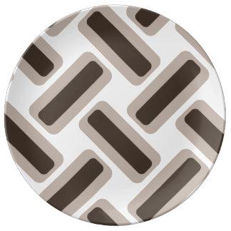 Beige- och bruntrektanglar porslinstallrik