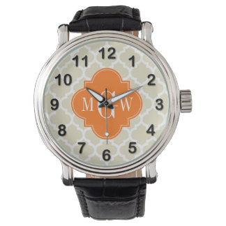 Beige vita marockanska #5 initial Monogram för Armbandsur