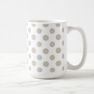 Beige vitpolka dotsmönster kaffemugg