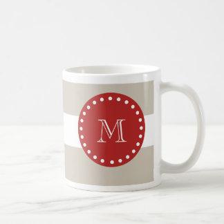 Beige vitrandmönster, röd Monogram Kaffemugg