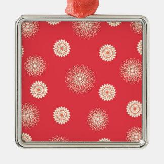 Beigen blommar på mörk - orange julgransprydnad metall