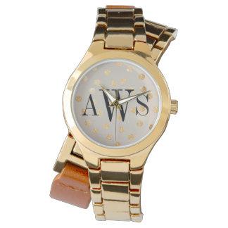 Beigen och guld- glitter pricker den Monogrammed Armbandsur