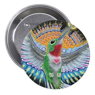 """Beija Flor (""""blommaKisser"""") Hummingbirdmålning Mellanstor Knapp Rund 7.6 Cm"""