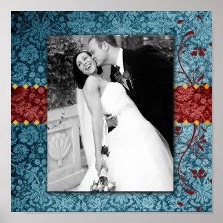 Bejeweled turkos för GC   & röd kanvastryck Print