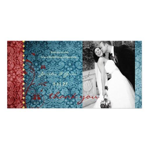 Bejeweled turkos för GC | & rött tack Fotokort Mall