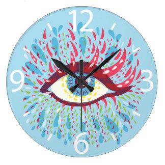 Bekläda det tittar abstrakt Psychedelic ögat Stor Klocka