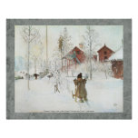 Bekläda gården och tvättahuset Carl Larsson 20x16 Poster