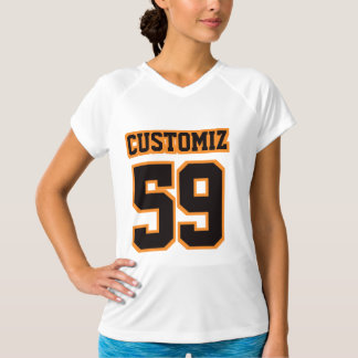 Bekläda VIT SVART ORANGE kvinna aktivbära V - Tee Shirts