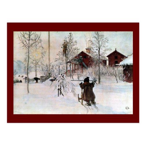 Beklädagården och tvättar huset i snön vykort