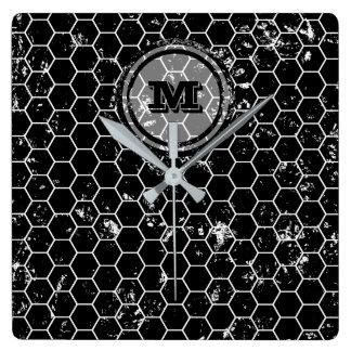 Bekymrad geometrisk Monogram för svart Fyrkantig Klocka