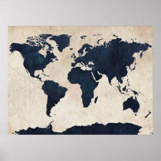 Bekymrad marin för världskarta posters