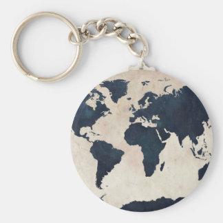 Bekymrad marin för världskarta rund nyckelring