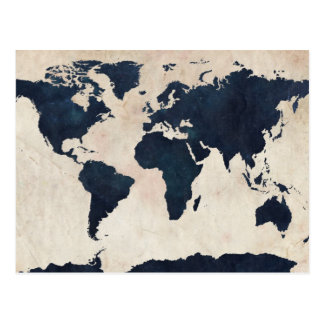 Bekymrad marin för världskarta vykort