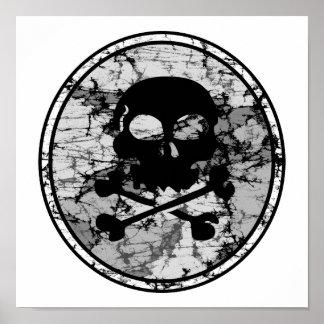 Bekymrad skalle- CrossbonesSilhouette B W Posters
