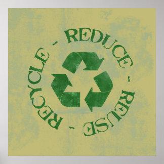 Bekymrat förminska återanvänder återvinnaaffischen poster