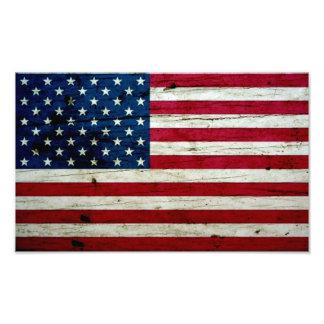 Bekymrat lantligt amerikanska flagganträ för coola fototryck