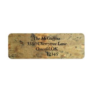 Bekymrat trä returadress etikett