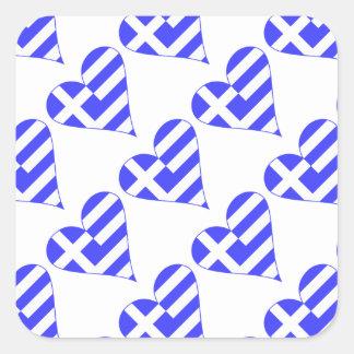 Belagd med tegel grekisk flaggahjärtafunky fyrkantigt klistermärke