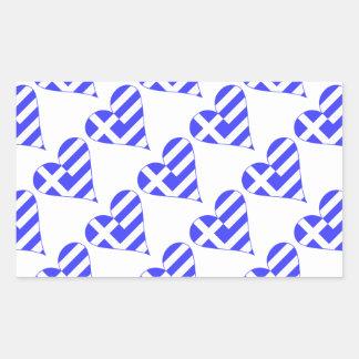 Belagd med tegel grekisk flaggahjärtafunky rektangulärt klistermärke