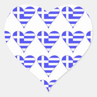 Belagd med tegel grekisk flaggahjärtafunky hjärtklistermärken