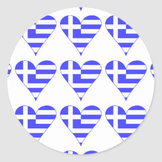 Belagd med tegel grekisk flaggahjärtafunky runt klistermärke