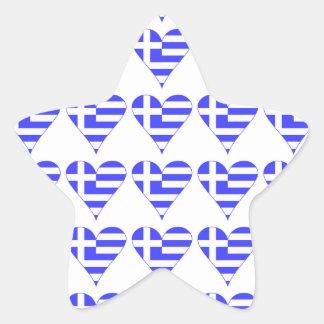 Belagd med tegel grekisk flaggahjärtafunky stjärnformat klistermärke