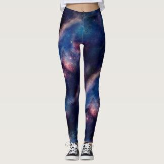 Belagd med tegel purpurfärgad galax leggings