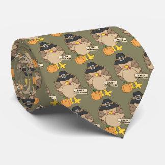 Belagd med tegel tie för happy thanksgiving slips