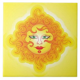 Belägga med tegel den abstrakt solen kakelplatta