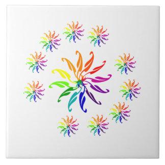 Belägga med tegel - färgrika lövmotiv kakelplatta