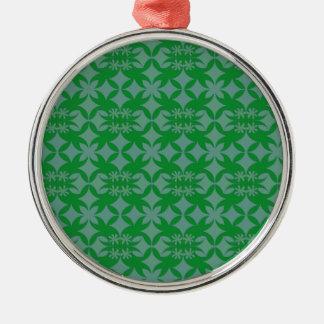 Belägga med tegel grå färg och göra grön julgransprydnad metall