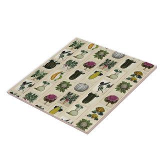 Belägger med tegel botaniska tryck för vintagegrön kakelplatta