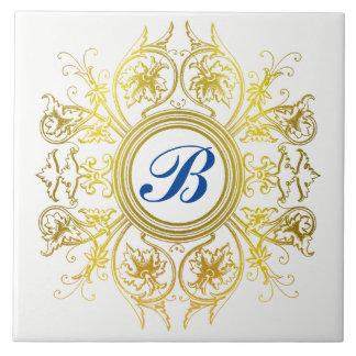Belägger med tegel den keramiska guld- monogramen kakelplatta