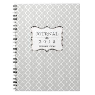 Belägger med tegel grått marockanskt för ljung per anteckningsbok med spiral