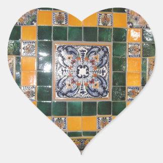 Belägger med tegel grön Talavera för mexikanen Hjärtformat Klistermärke