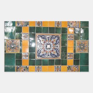Belägger med tegel grön Talavera för mexikanen Rektangulärt Klistermärke