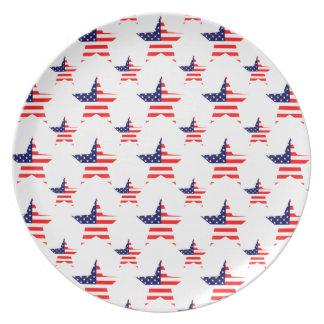 Belagt med tegel mönster för amerikan stjärna tallrik