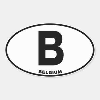 Belgien B kodifierar den ovala internationella Ovalt Klistermärke