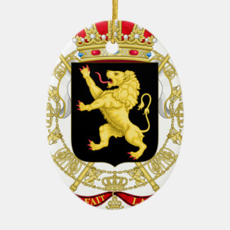 Belgien Emblemvapensköld - Armoiries Belgique Ovalformad Julgransprydnad I Keramik