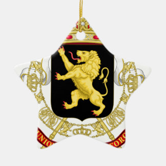 Belgien Emblemvapensköld - Armoiries Belgique Stjärnformad Julgransprydnad I Keramik