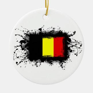Belgien flagga julgransprydnad keramik