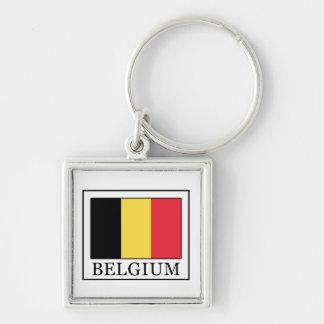 Belgien Fyrkantig Silverfärgad Nyckelring