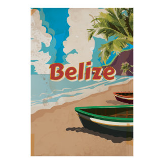 Belize vintage resoraffisch poster