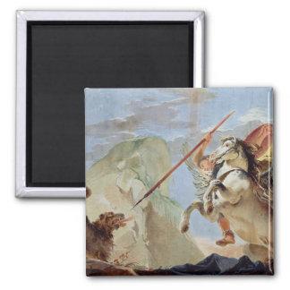 Bellerophon och att rida Pegasus som dräpar chimär Magnet