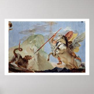 Bellerophon och att rida Pegasus som dräpar chimär Poster