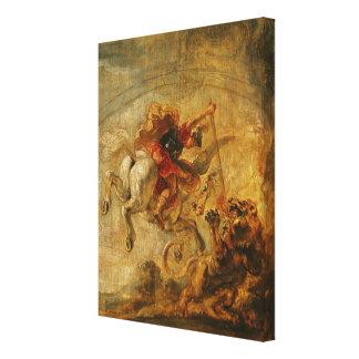 Bellerophon som rider Pegasus som slåss chimären Canvastryck