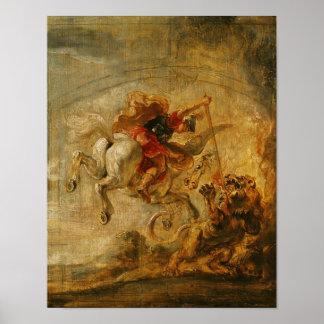 Bellerophon som rider Pegasus som slåss chimären Poster