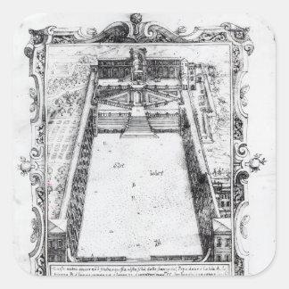 Belvederedomstolen på Vaticanen Rome, 1581 Fyrkantigt Klistermärke