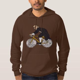 Ben Franklin på en cykel med halvt dollarhjul Sweatshirt Med Luva